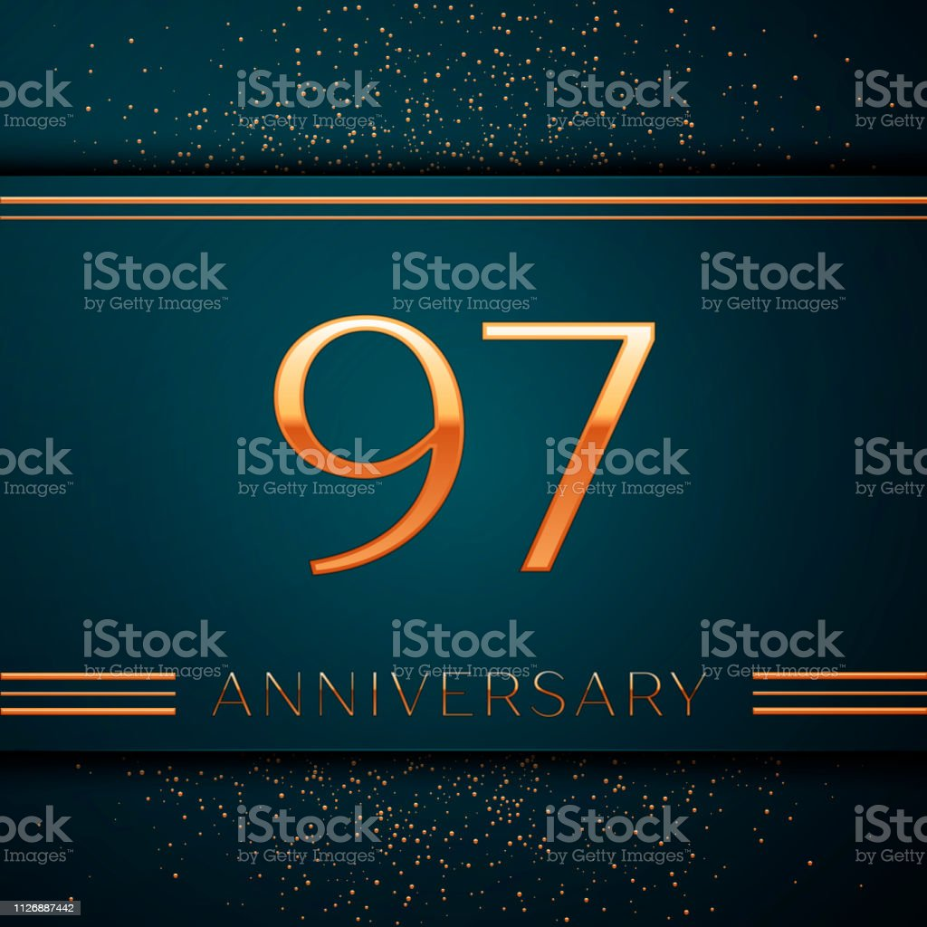 Realistic Ninety seven Years Anniversary Celebration design banner. Golden number and confetti on green background. Colorful Vector template elements for your birthday party vector art illustration
