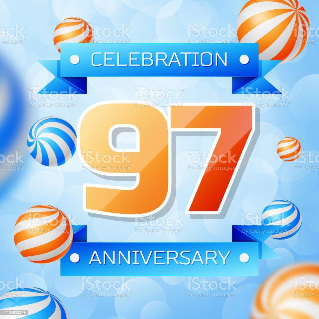 Realistic Ninety seven Years Anniversary Celebration design banner. Goldnummern und blaue Bänder, Luftballons auf blauem Hintergrund. Bunte Vector-Schablonen für Ihre Geburtstagsfeier – Vektorgrafik