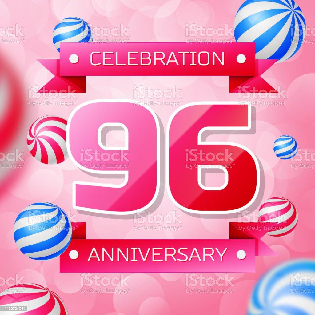 Realistic Ninety six 96 Years Anniversary Celebration design banner. Rosa Zahlen und rosa Bänder, Luftballons auf rosa Hintergrund. Bunte Vector-Schablonen für Ihre Geburtstagsfeier – Vektorgrafik
