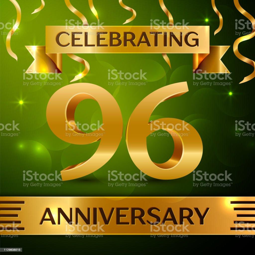 Realistische neunzig sechs 96 Jahre Jubiläum Feier Design. Gold Konfetti und Band auf grünem Hintergrund. Bunte Vektorelemente Vorlage für deine Geburtstagsparty – Vektorgrafik