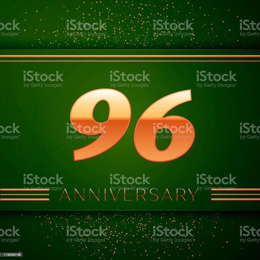 Realistische neunzig sechs 96 Jahre Jubiläum Feier Logo. Goldene Zahlen und goldenen Konfetti auf grünem Hintergrund. Bunte Vektorelemente Vorlage für deine Geburtstagsparty – Vektorgrafik
