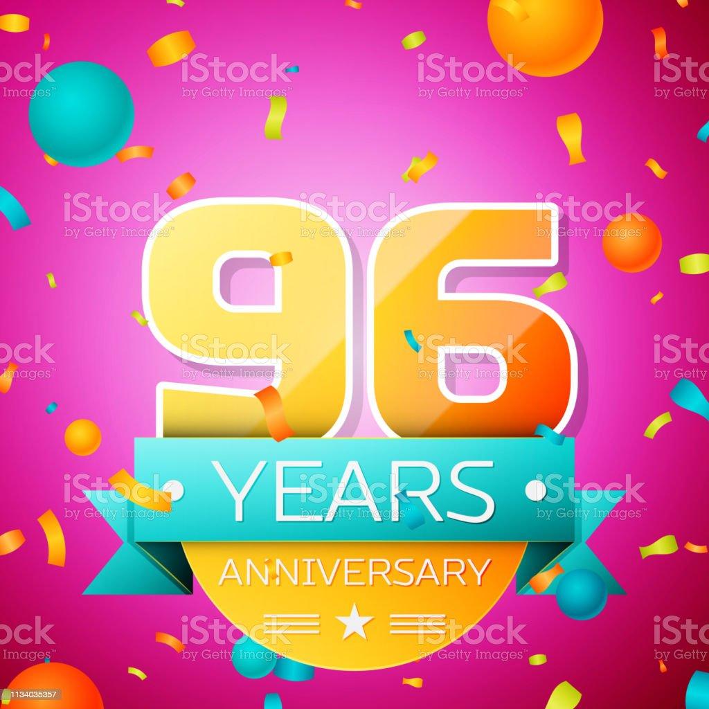 Realistic Ninety six Years Anniversary Celebration design banner. Goldnummern und Cyan-Band, Luftballons, Konfetti auf rosa Hintergrund. Bunte Vector-Schablonen für Ihre Geburtstagsfeier – Vektorgrafik