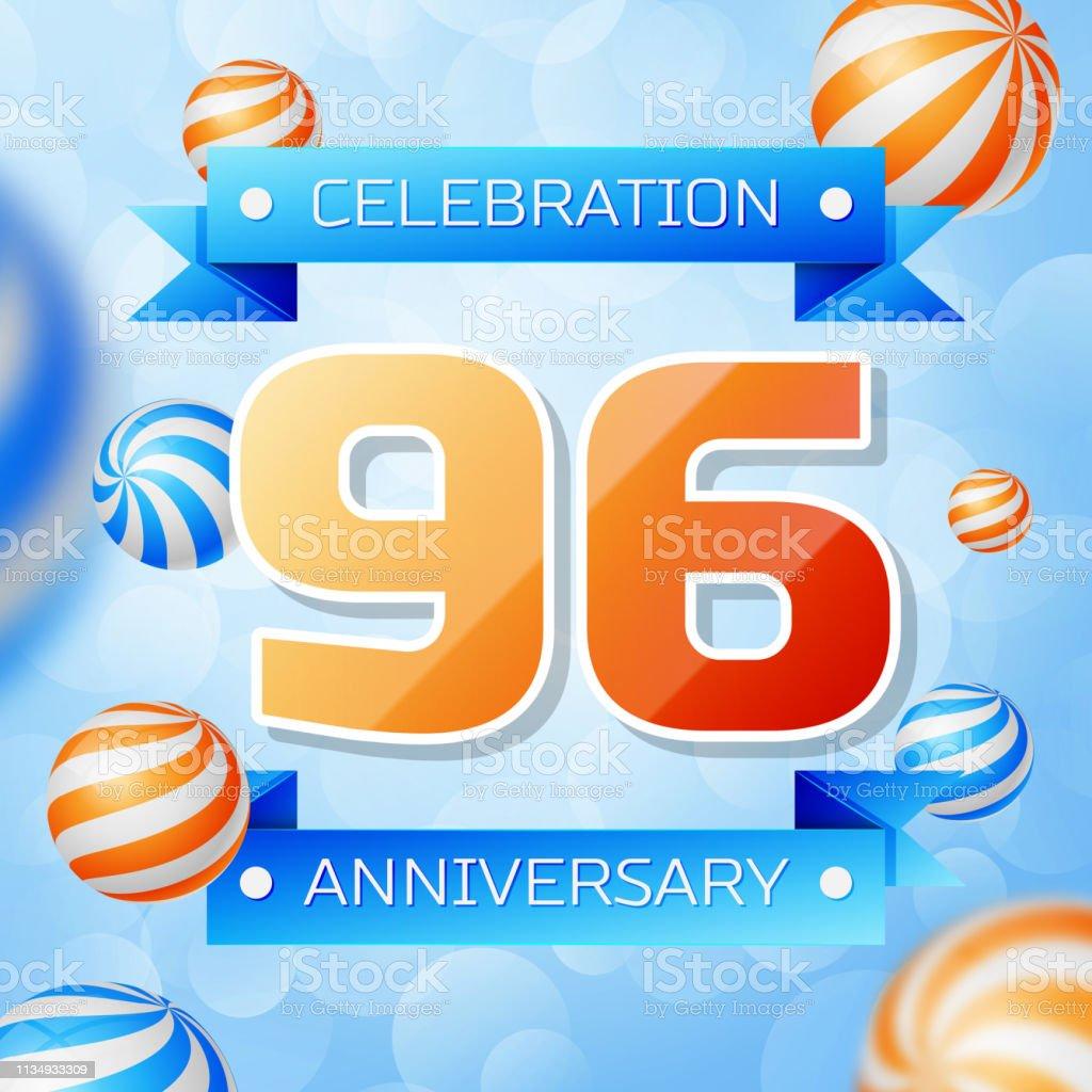 Realistic Ninety six Years Anniversary Celebration design banner. Goldnummern und blaue Bänder, Luftballons auf blauem Hintergrund. Bunte Vector-Schablonen für Ihre Geburtstagsfeier – Vektorgrafik