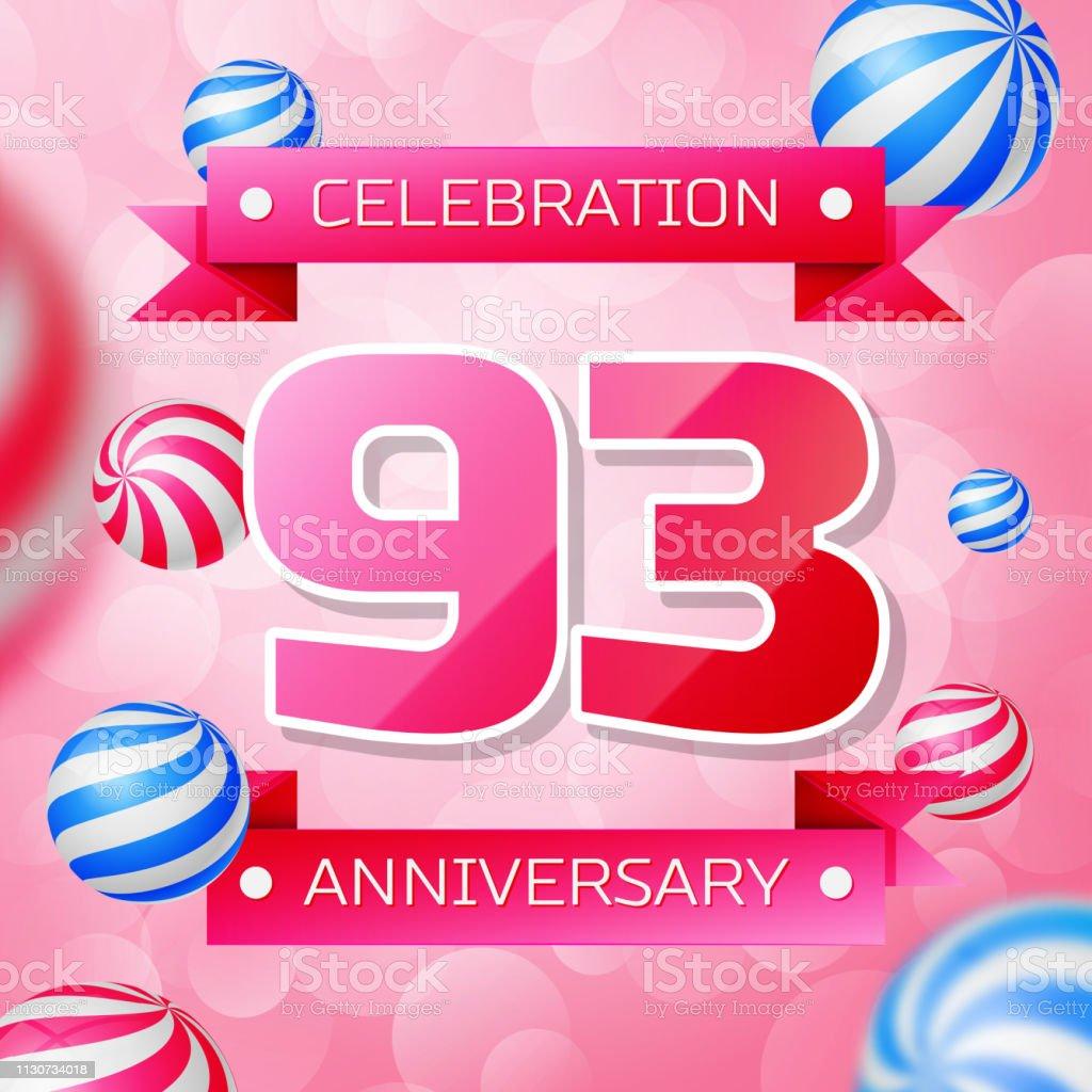 Realistic Ninety three 93 Years Anniversary Celebration design banner. Rosa Zahlen und rosa Bänder, Luftballons auf rosa Hintergrund. Bunte Vector-Schablonen für Ihre Geburtstagsfeier – Vektorgrafik