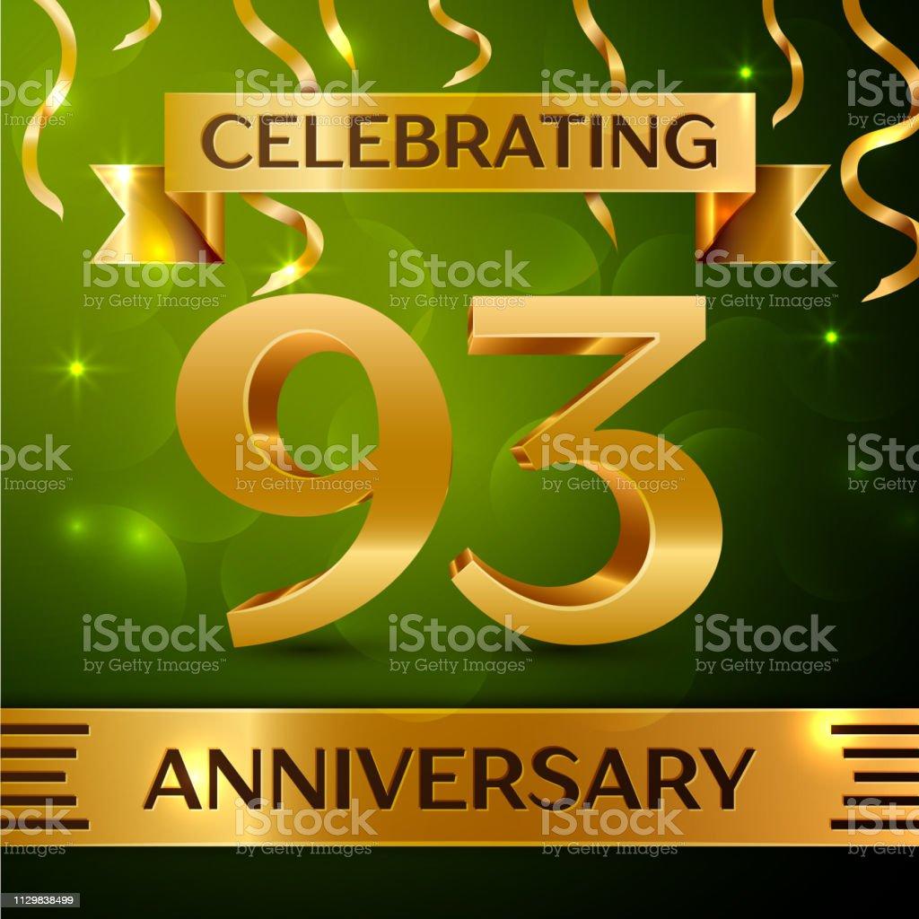 Realistische neunzig drei 93 Jahre Jubiläum Feier Design. Gold Konfetti und Band auf grünem Hintergrund. Bunte Vektorelemente Vorlage für deine Geburtstagsparty – Vektorgrafik