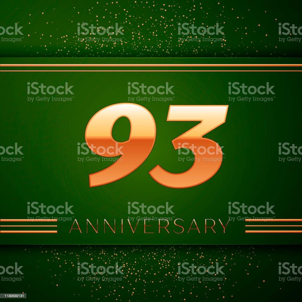 Realistische neunzig drei 93 Jahre Jubiläum Feier Logo. Goldene Zahlen und goldenen Konfetti auf grünem Hintergrund. Bunte Vektorelemente Vorlage für deine Geburtstagsparty – Vektorgrafik
