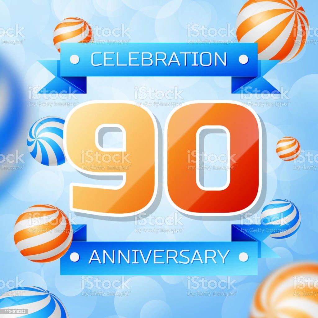 Realistic Neunjähriger Jubiläum feiert Design-Banner. Goldnummern und blaue Bänder, Luftballons auf blauem Hintergrund. Bunte Vector-Schablonen für Ihre Geburtstagsfeier – Vektorgrafik