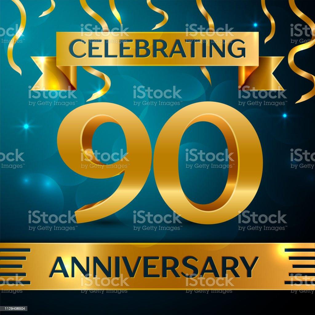 Realistische neunzig Jahre Jubiläum Feier Design. Goldene Konfetti und Goldband auf blauem Hintergrund. Bunte Vektorelemente Vorlage für deine Geburtstagsparty – Vektorgrafik
