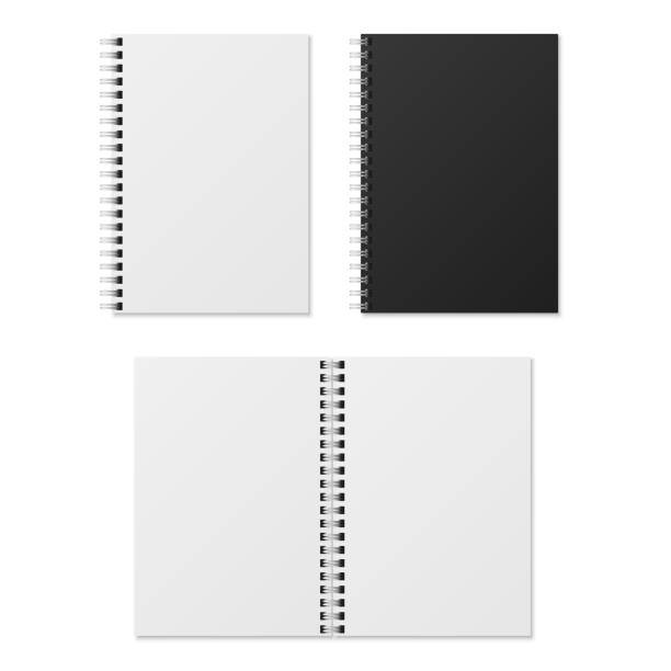 realistic notebook. blank open and closed spiral binder notebooks. paper organizer and diary vector template isolated - notatka stock illustrations
