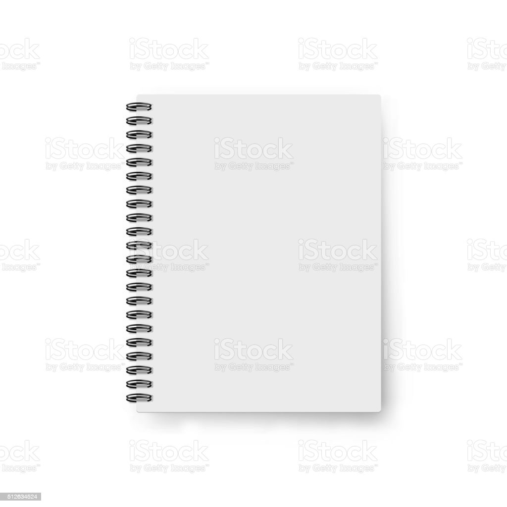 Realistic notebook template. Blank cover design. Mock up notebooks vector art illustration