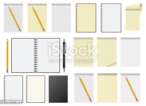 istock Realistic notebook vector design illustration isolated on white background 1293727499