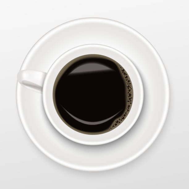 Realistic of hot black coffee in a white Cup of Coffee on saucer with black coffee, top view and isolated on white background. – artystyczna grafika wektorowa