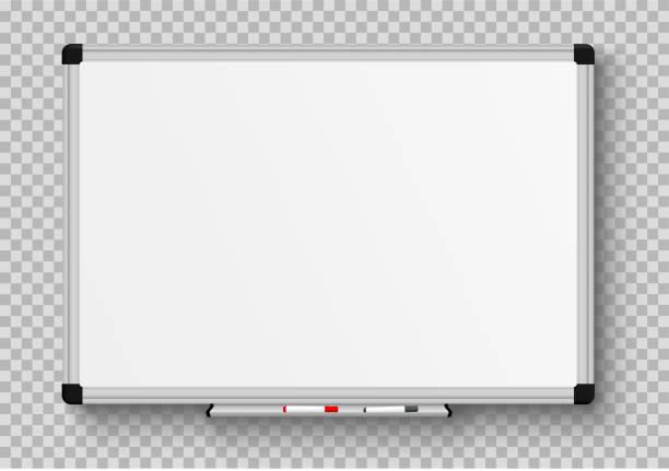 bildbanksillustrationer, clip art samt tecknat material och ikoner med realistisk kontors whiteboard. töm whiteboard med märkpennor-stock vector. - svarta tavlan