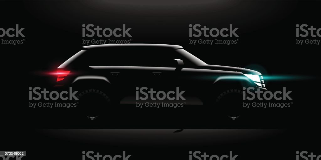 Realistic Off-road car lit in the dark vector art illustration
