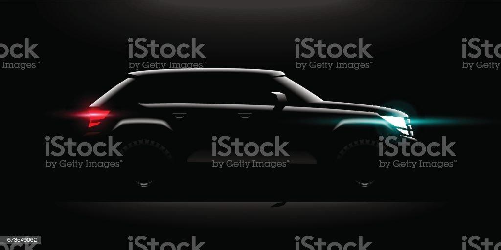 Realistic Off-road car lit in the dark vector art illustration