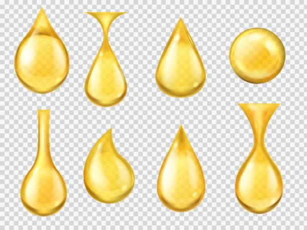 realistyczne krople oleju. spadający spadek miodu, żółta kropla benzyny. złota kapsułka płynnej witaminy, kapanie oleju maszynowego izolowanego wektora - kropla stock illustrations