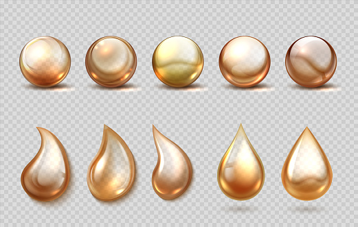 Realistic oil drops. Gasoline, petrol lubricant or machine grease drip and spheres. Eco, bio cosmetic and beauty golden fluid, serum capsule. Vector 3D liquid for cooking or honey set