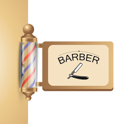 Realistic old fashioned vintage golden and glass barber shop pole with barber sign.