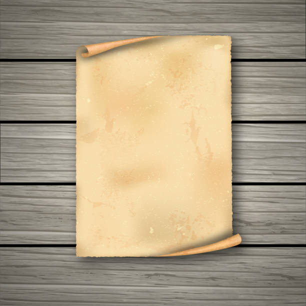 Realistic old roll Realistic old roll on wooden boards.The empty dirty sheet of paper with a shadow.Template for design. Vintage frame.The ancient sheet of paper with the place for the text. Vector illustration. ancient stock illustrations