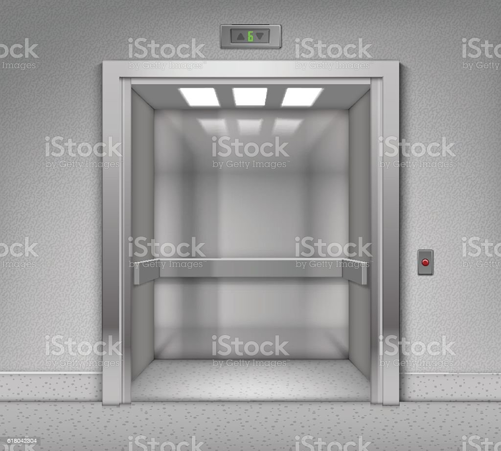 realistic open chrome metal office building elevator isolated on background lizenzfreies vektor illustration
