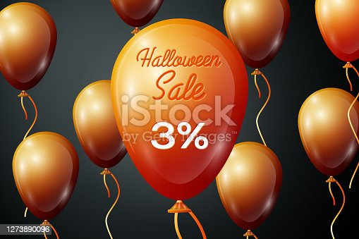 istock Realistic Orange ballons with inscription Halloween Sale Three percent for discount on black background. Colorful sticker, banner for sale, shopping, business theme. Vector illustration 1273890096