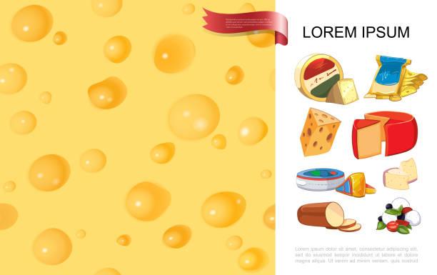 realistische bio-käse bunten hintergrund - raclette stock-grafiken, -clipart, -cartoons und -symbole
