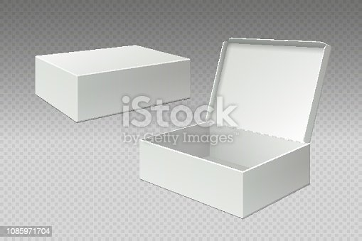 Realistic packaging boxes. Open mock up blank package, white square paper cardboard. Empty carton pack vector 3d template