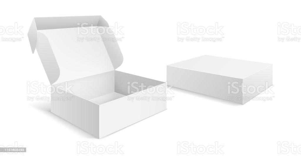 Realistische Verpackungsboxen Papier Leere Weiße Schachtel