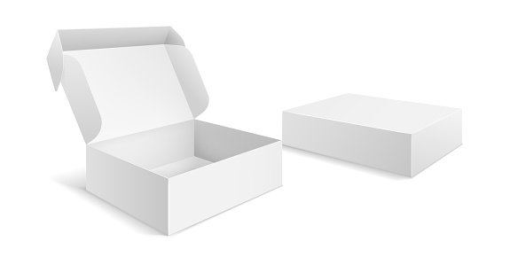 Realistic packaging boxes. Paper blank white box, carton empty mockup open closed package template vector isolated