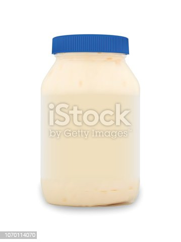 Realistic packaging mockup template. Mayonnnaise white sauce in glass jar with blue lid. Vector illustration.