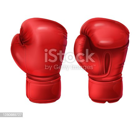 istock Realistic pairs of red boxing gloves 1250685727