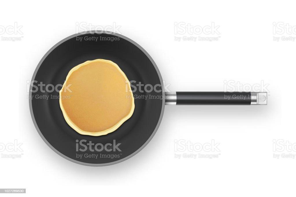 フライパン クローズ アップ ホワイト バック グラウンド、平面図上で分離の現実的なパンケーキ。朝食は、デザイン テンプレート食品メニューと自家製のコンセプト - ふわふわのロイヤリティフリーベクトルアート