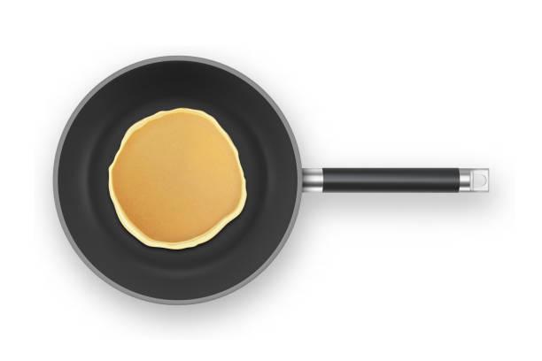 フライパン クローズ アップ ホワイト バック グラウンド、平面図上で分離の現実的なパンケーキ。朝食は、デザイン テンプレート食品メニューと自家製のコンセプト - パンケーキ点のイラスト素材/クリップアート素材/マンガ素材/アイコン素材