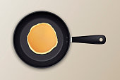 Realistic pancake in the frying pan icon closeup, top view. Design template for breakfast, food menu and homestyle concept. Vector EPS10 illustration