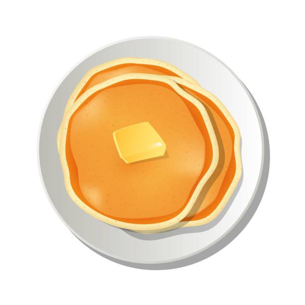 白い背景に分離されたトップベクターデザインのイラストにバターが付いた、プレート上のリアルなパンケーキ - パンケーキ点のイラスト素材/クリップアート素材/マンガ素材/アイコン素材