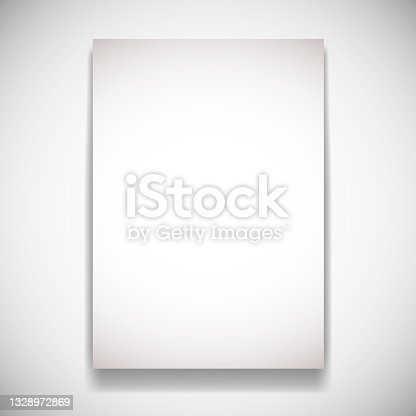 istock Realistic Paper Card On White Wall With Shadow 1328972869