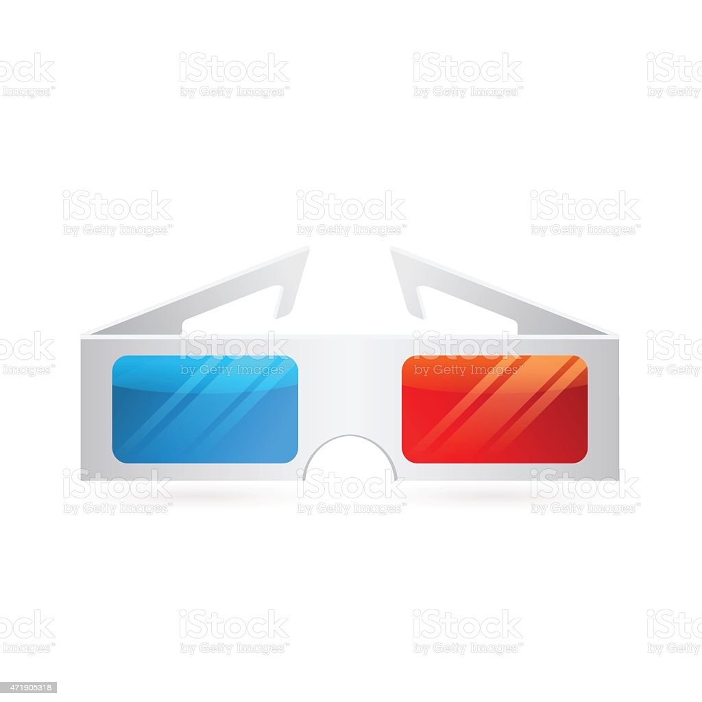Realistic paper cinema 3D glasses icon isolated on white vector art illustration