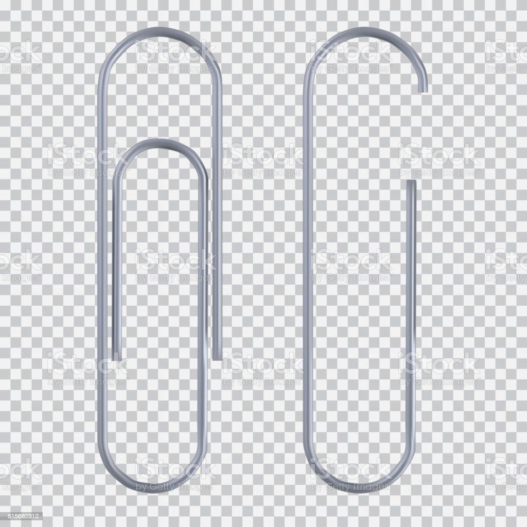 Realistic paper clip vector art illustration