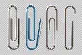 Realistic paper clips. Isolated transparent attach elements, school supplies, metal fasteners notebook holders. Vector clips