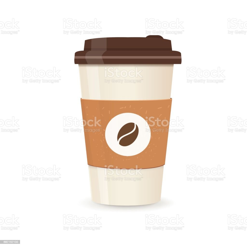Realistic paper coffee cup. Large size. Coffee take away vector art illustration