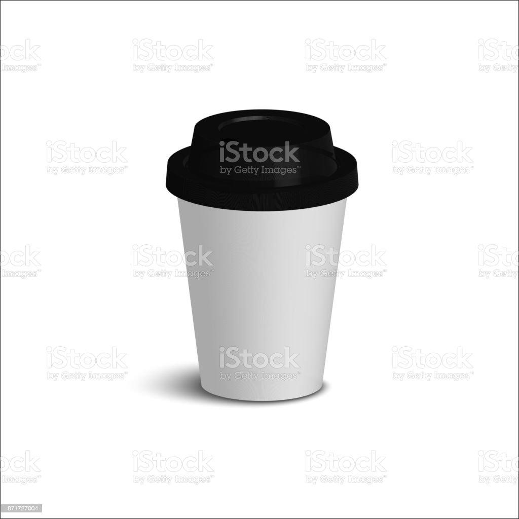 Realistische Papier Kaffee-Tassen-Set. Schwarze Abdeckung. Weiße Wände. – Vektorgrafik