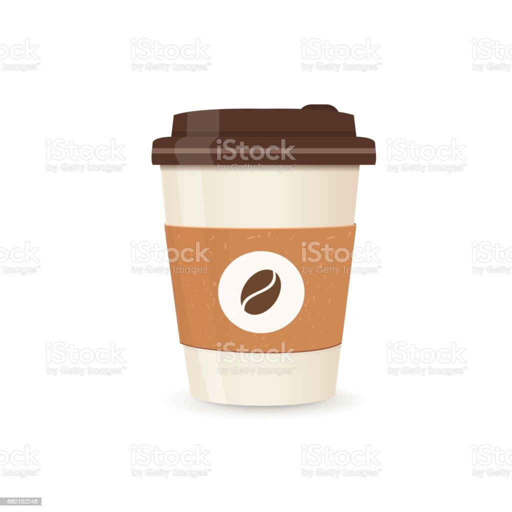 Realistic paper coffee cup. Small size. Coffee take away. vector art illustration