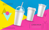 Realistic Paper Fast Food Cups Template