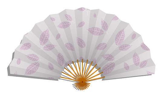 Realistic paper Female folding fan of Japanese geisha with pattern of plant leaves. Vector isolated on white background