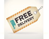 Realistic paper free delivery vector label. isolated from background. layered.