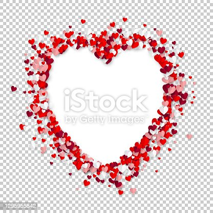 Realistic paper hearts mosaic forming a white heart shape empty space on transparent background