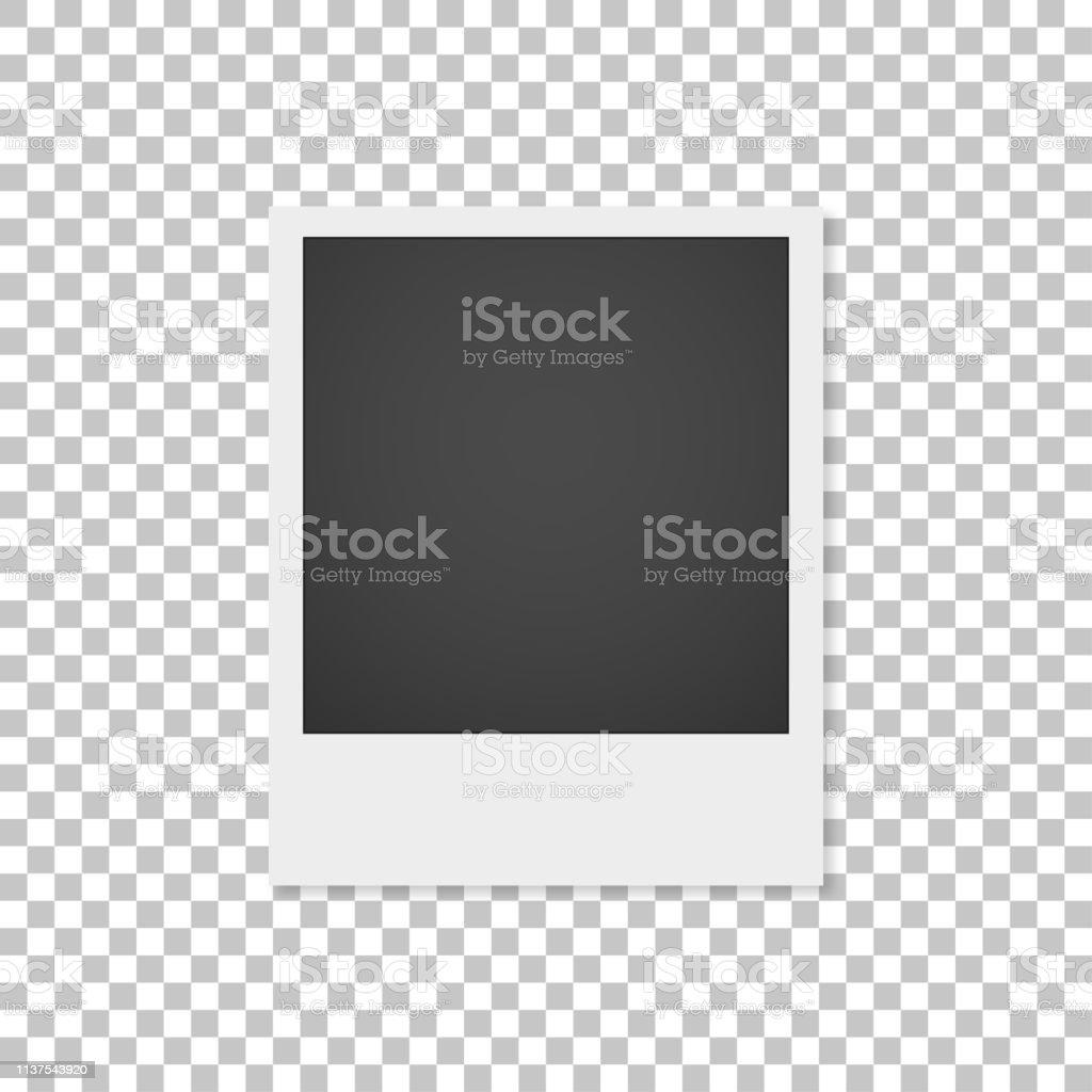 Realistische Papierfotografie mit Schatten isoliert auf weißem Hintergrund. Foto Rahmen - Lizenzfrei Alt Vektorgrafik