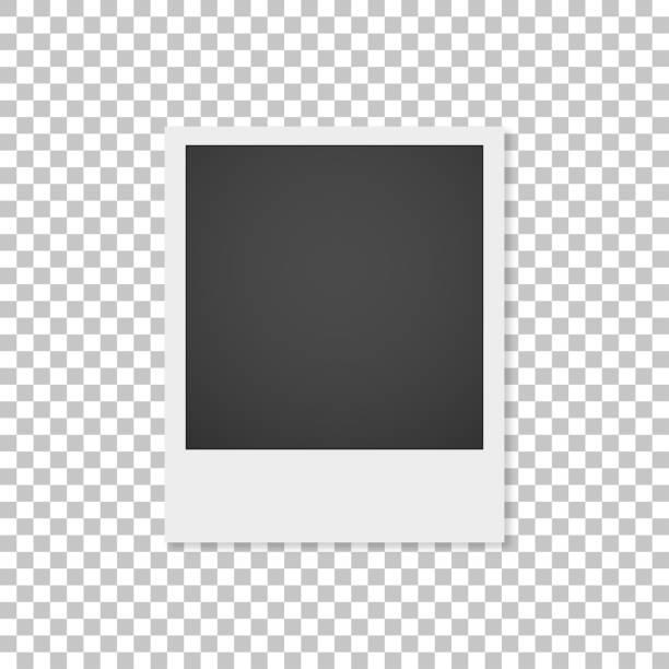 ilustrações, clipart, desenhos animados e ícones de fotografia de papel realística com a sombra isolada no fundo branco. moldura de foto - polaroid