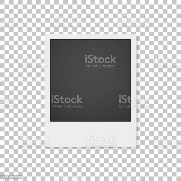 Realistische Papierfotografie Mit Schatten Isoliert Auf Weißem Hintergrund Foto Rahmen Stock Vektor Art und mehr Bilder von Alt