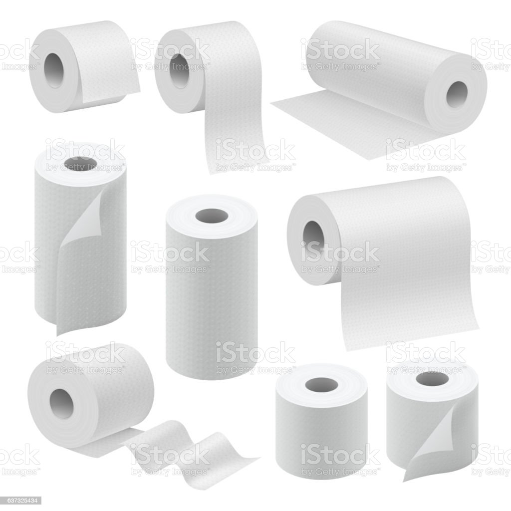 Realistic paper roll mock up set vector art illustration
